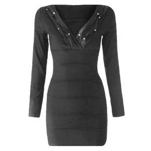 Dresses & Skirts - Beaded V-Neck Mini Bandage Dress